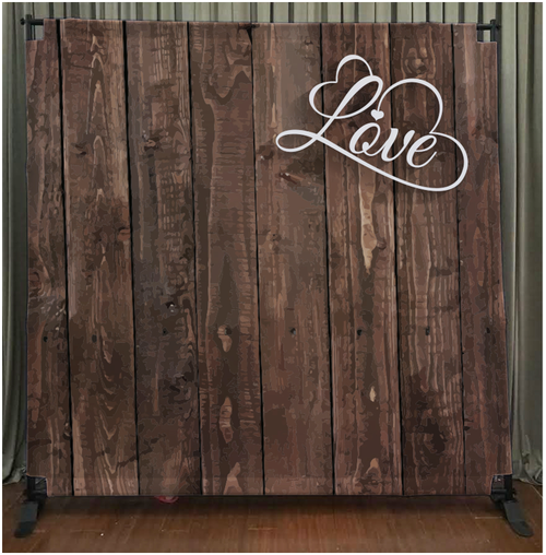8x8 Printed Tension fabric backdrop - Dark Wood with Love | PB Backdrops