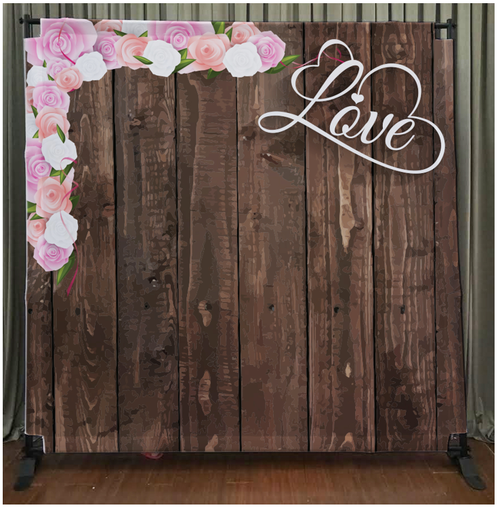8x8 Printed Tension fabric backdrop - Dark Wood with Love & Flowers | PB Backdrops
