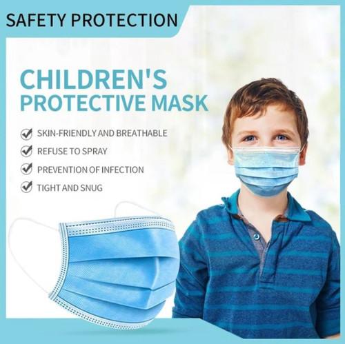 3 Ply Disposable Kids Face Masks - 1 box of 50 masks