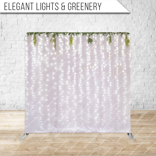 Single-sided Pillow Cover Backdrop  (Elegant Lights and Greenery)