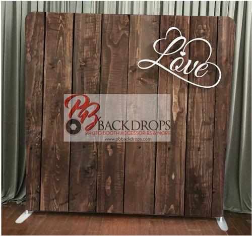 Single-sided Custom backdrop - Dark Wood with Love | PB Backdrops