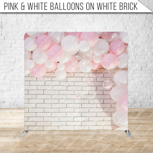 Single-sided Pillow Cover Backdrop  (Pink & White Balloons on White Brick)
