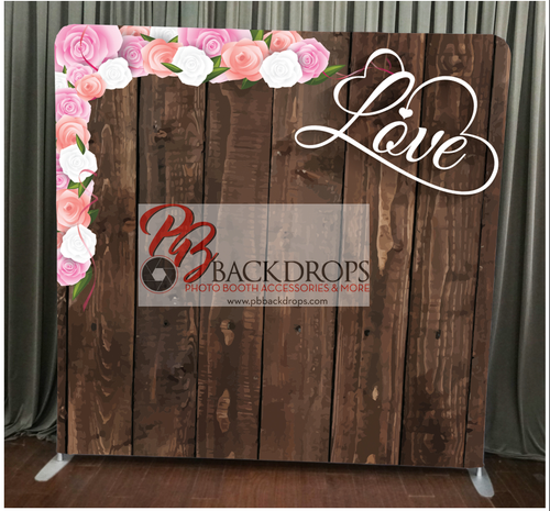 Single-sided Custom backdrop - Dark Wood with Love & Flowers | PB Backdrops