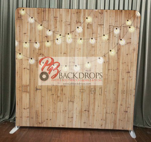 Single-sided Custom backdrop - Light Wood w/String Lights | PB Backdrops