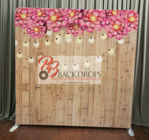 Single-sided Custom backdrop - Light Wood w/String Lights & Flowers | PB Backdrops | PB Backdrops