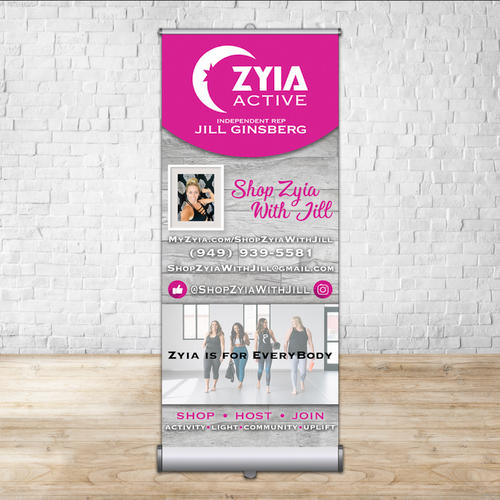 "Zyia Custom Retractable - Single-sided 33"" x 81"""