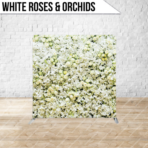 Single-sided Pillow Cover Backdrop  (White Roses & Orchids)