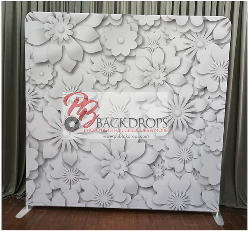 Single-sided Custom backdrop - White Flowers | PB Backdrops
