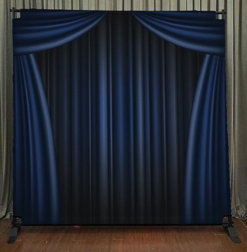 8x8 Printed Tension fabric backdrop - Blue Curtain | PB Backdrops