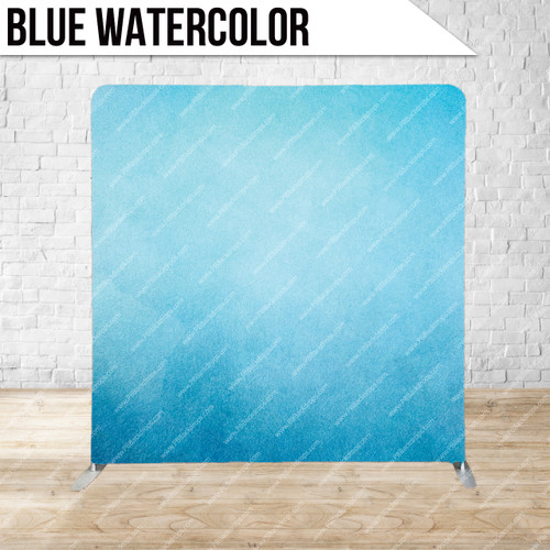 Single-sided Pillow Cover Backdrop  (Blue Watercolor)