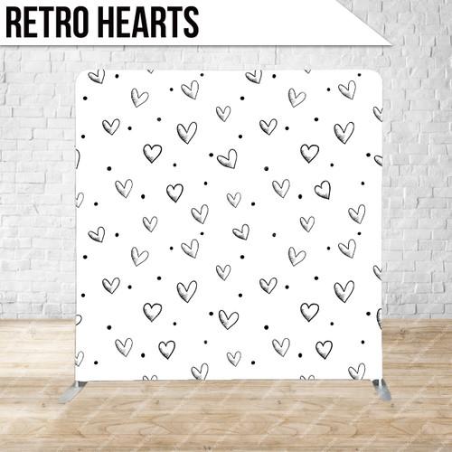 Single-sided Pillow Cover Backdrop  (Retro Hearts)