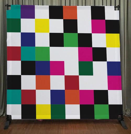 8x8 Printed Tension fabric backdrop - Colorful Checkers | PB Backdrops