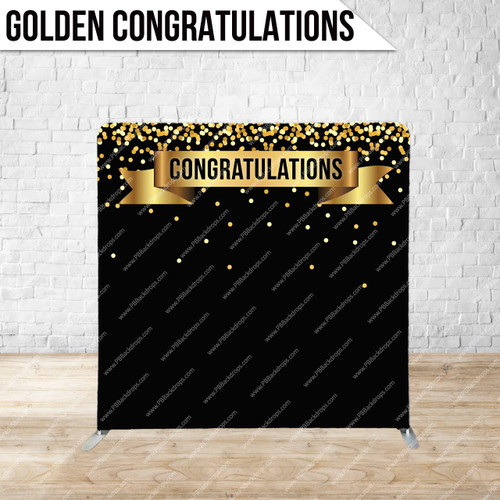 Single-sided Pillow Cover Backdrop  (Golden Congratulations)