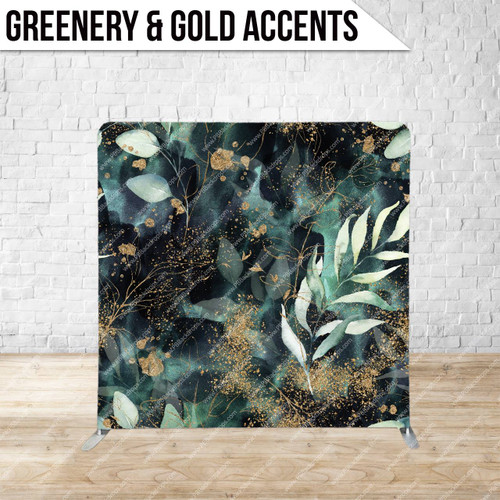 Single-sided Pillow Cover Backdrop  (Greenery and Gold Accents)