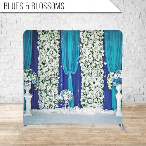 Single-sided Pillow Cover Backdrop  (Blues and Blossoms)