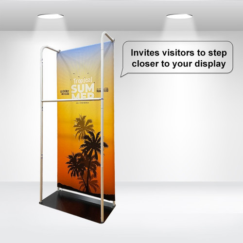 Tension Fabric Stand With Hanging Rail