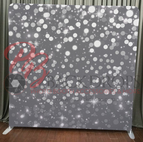 Single-sided Custom backdrop - Silver Bokeh | PB Backdrops