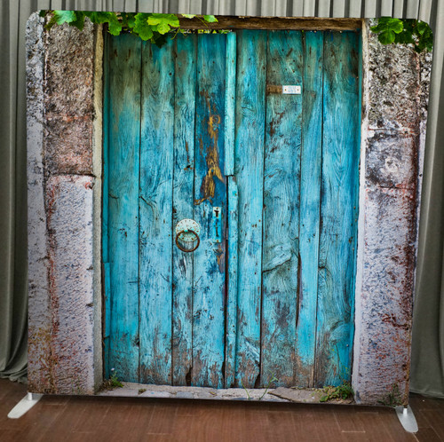 Single-sided Custom backdrop - Rustic Blue Doors | PB Backdrops