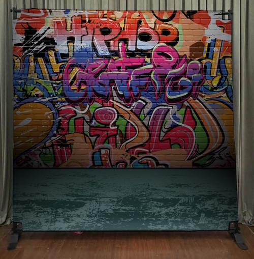 8x8 Printed Tension fabric backdrop - Graffiti Wall | PB Backdrops