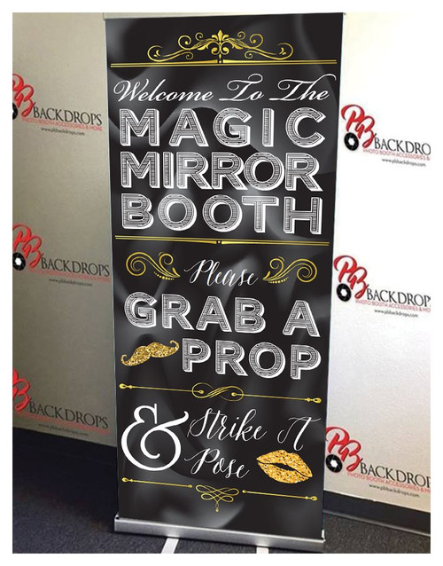 Black and Gold Mirror Booth Retractable Banner
