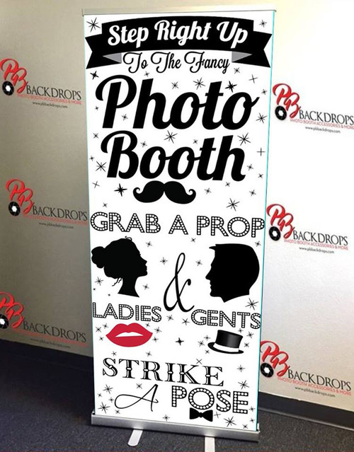 Step Right Up PHOTO BOOTH RETRACTABLE BANNER - Black/White Version | PB Backdrops
