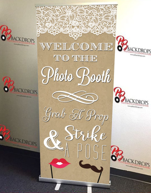 Step Right Up PHOTO BOOTH RETRACTABLE BANNER - Elegant | PB Backdrops