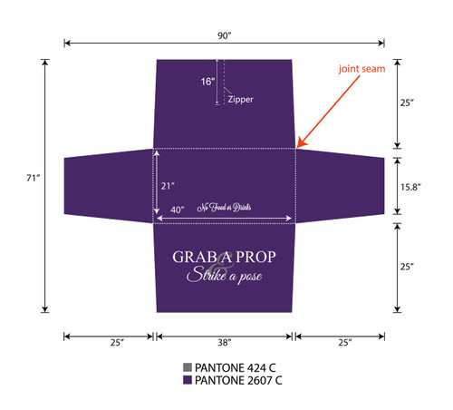 4ft Spandex Fabric Table Cover with Zipper in back - purple with white lettering | PB Backdrops