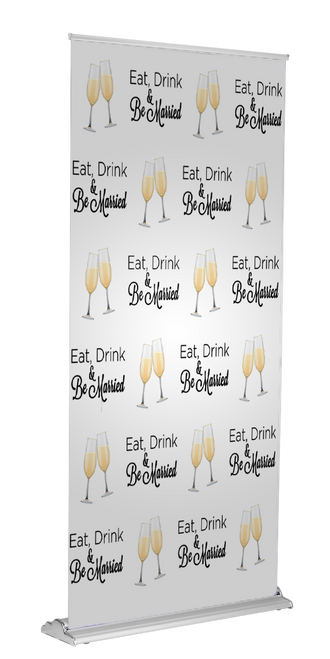 """Eat Drink and be Married Retractable 60"""" x  92"""" - Silver 