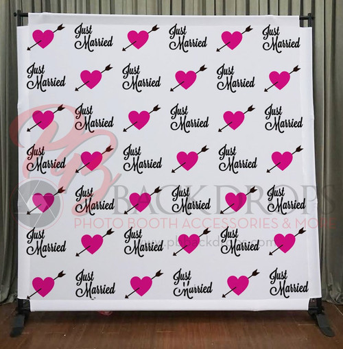 8x8 Printed Tension fabric backdrop - Just Married | PB Backdrops