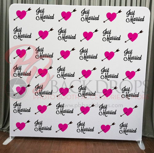 Single-sided Pillow Cover Backdrop - Just Married | PB Backdrops