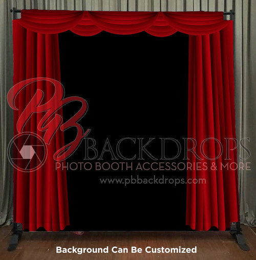 8x8 Printed Tension fabric backdrop - Red Curtains | PB Backdrops