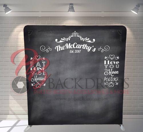 Single-sided Pillow Cover Backdrop - Wedding Chalk Wall | PB Backdrops