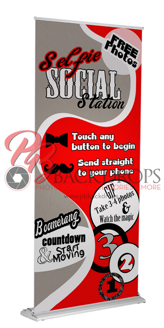 Selfie Social Station Retractable Banner - Red | PB Backdrops