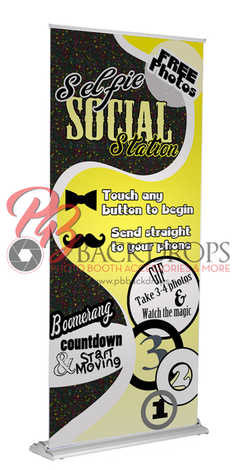 Selfie Social Station Retractable Banner - Yellow | PB Backdrops