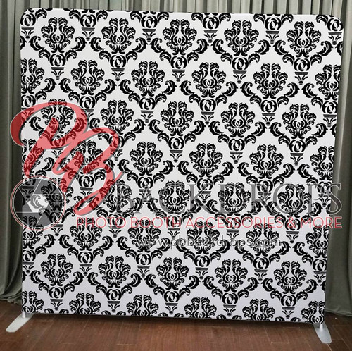 Single-sided Pillow Cover Backdrop - Black and White Damask | PB Backdrops