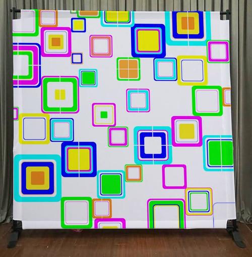 8x8 Printed Tension fabric backdrop - Colorful Squares   PB Backdrops