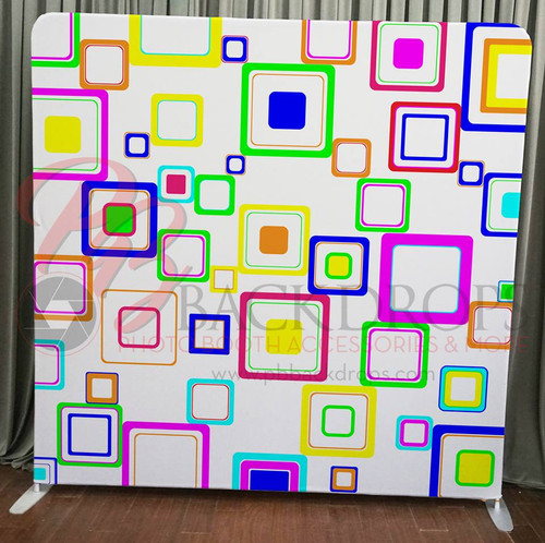 Single-sided Pillow Cover Backdrop  - Colorful Squares   PB Backdrops