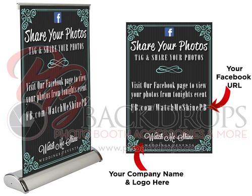 "Social Media Table Top Retractable - Share Your Photos | PB Backdrops11.5""x17.5"""