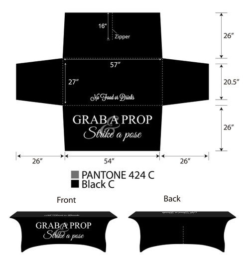 8ft Spandex Fabric Table Cover with Zipper in back - all black with white lettering | PB Backdrops