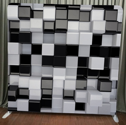 Single-sided Pillow Cover Backdrop  - Black and White 3D Cubes | PB Backdrops