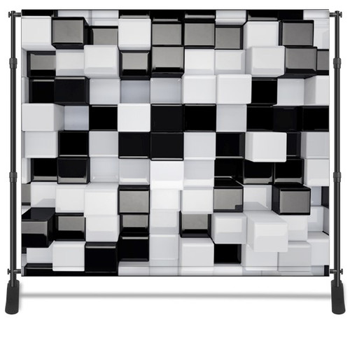 8x8 Printed Tension fabric backdrop - Black and White 3D Cubes | PB Backdrops