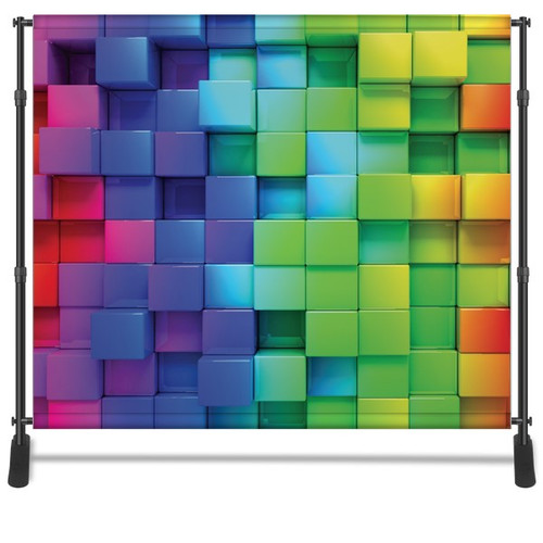 8x8 Printed Tension fabric backdrop - Color 3D Cubes | PB Backdrops