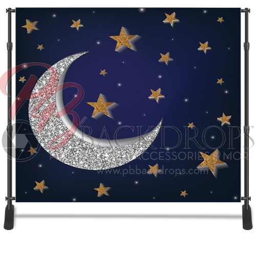 8x8 Printed Tension fabric backdrop - Moon and Stars   PB Backdrops