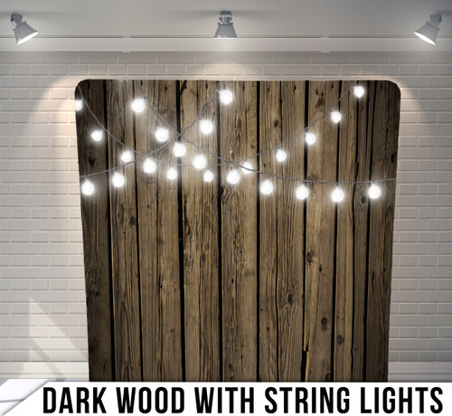 Single-sided Pillow Cover Backdrop  (Dark Wood with String Lights)