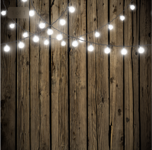 8x8 Printed Tension fabric backdrop - Dark Wood with String Lights | PB Backdrops