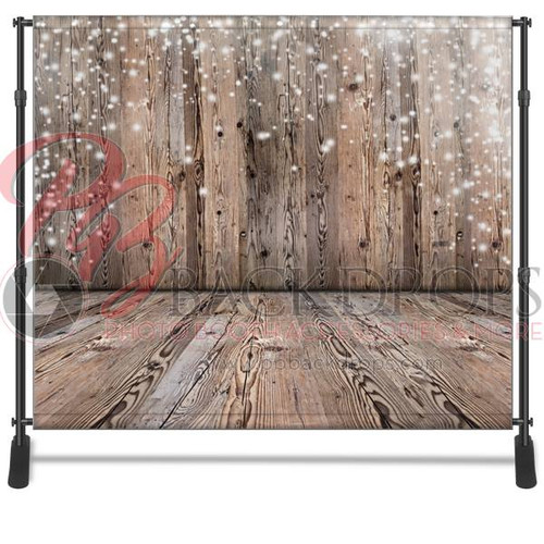 8x8 Printed Tension fabric backdrop - Wood Wall-Floor Holiday | PB Backdrops