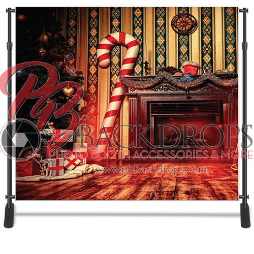 8x8 Printed Tension fabric backdrop - Candy Cane Christmas | PB Backdrops