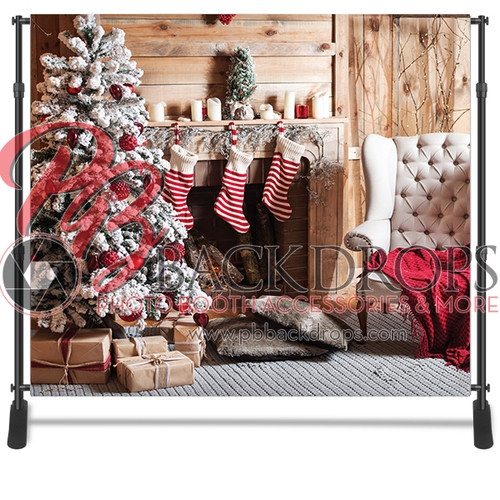 8x8 Printed Tension fabric backdrop - Fireplace Stockings | PB Backdrops
