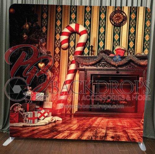 Single-sided Pillow Cover Backdrop  - Candy Cane Christmas | PB Backdrops