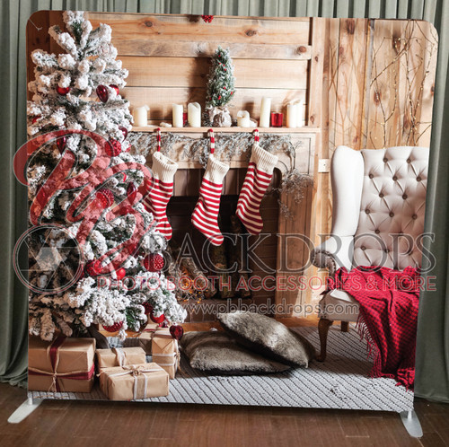 Single-sided Pillow Cover Backdrop  - Fireplace Stockings | PB Backdrops